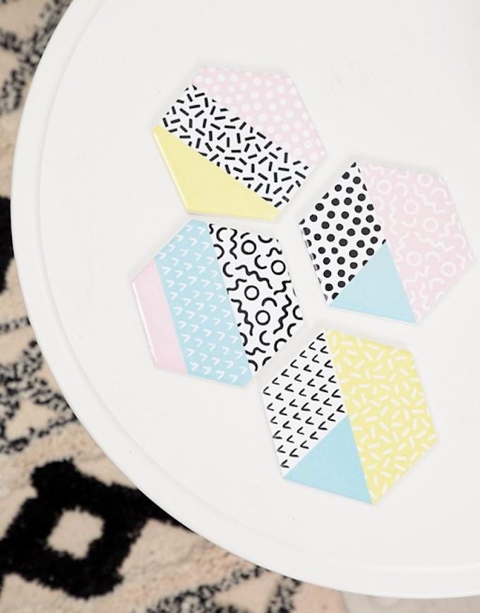 sous tasse rose jaune bleu pastel géométrique style scandinave déco cuisine clemaroundthecorner