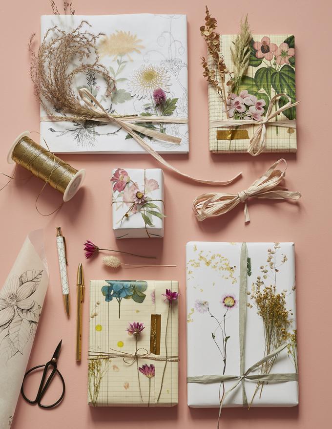 paquet cadeaux fleuri idée décoration naturelle écolo déco