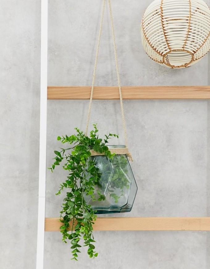 vase verre suspension pour plante corde naturelle déco originale salon clemaroundthecorner