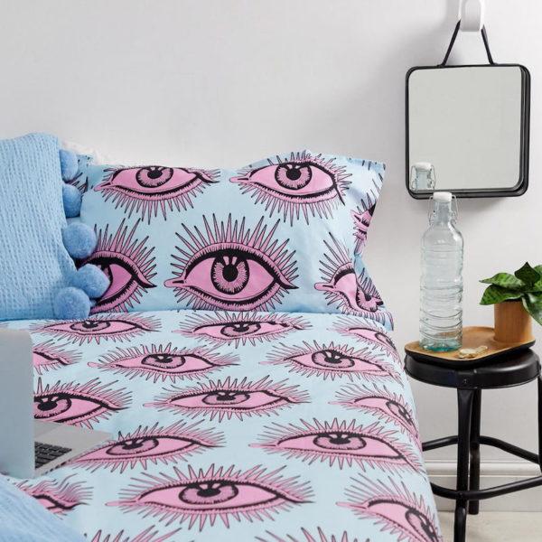 asos déco housse de couette bleu rose lit motif oeil yeux - blog décoration