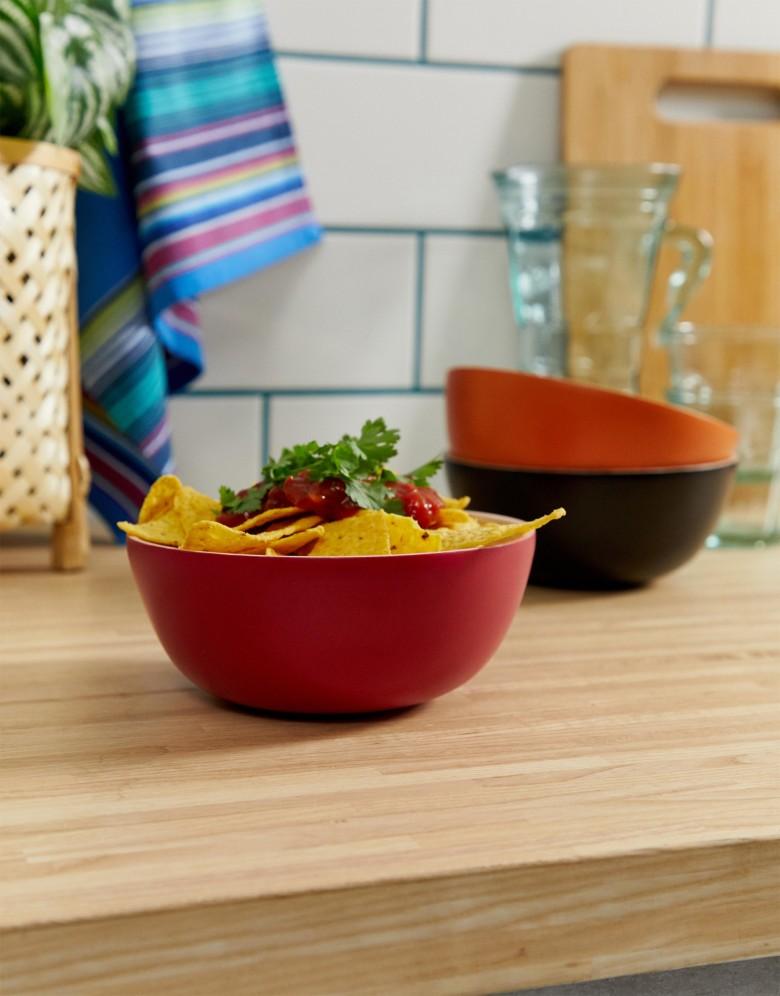asos bol rond rouge noir cuisine table bois - blog déco
