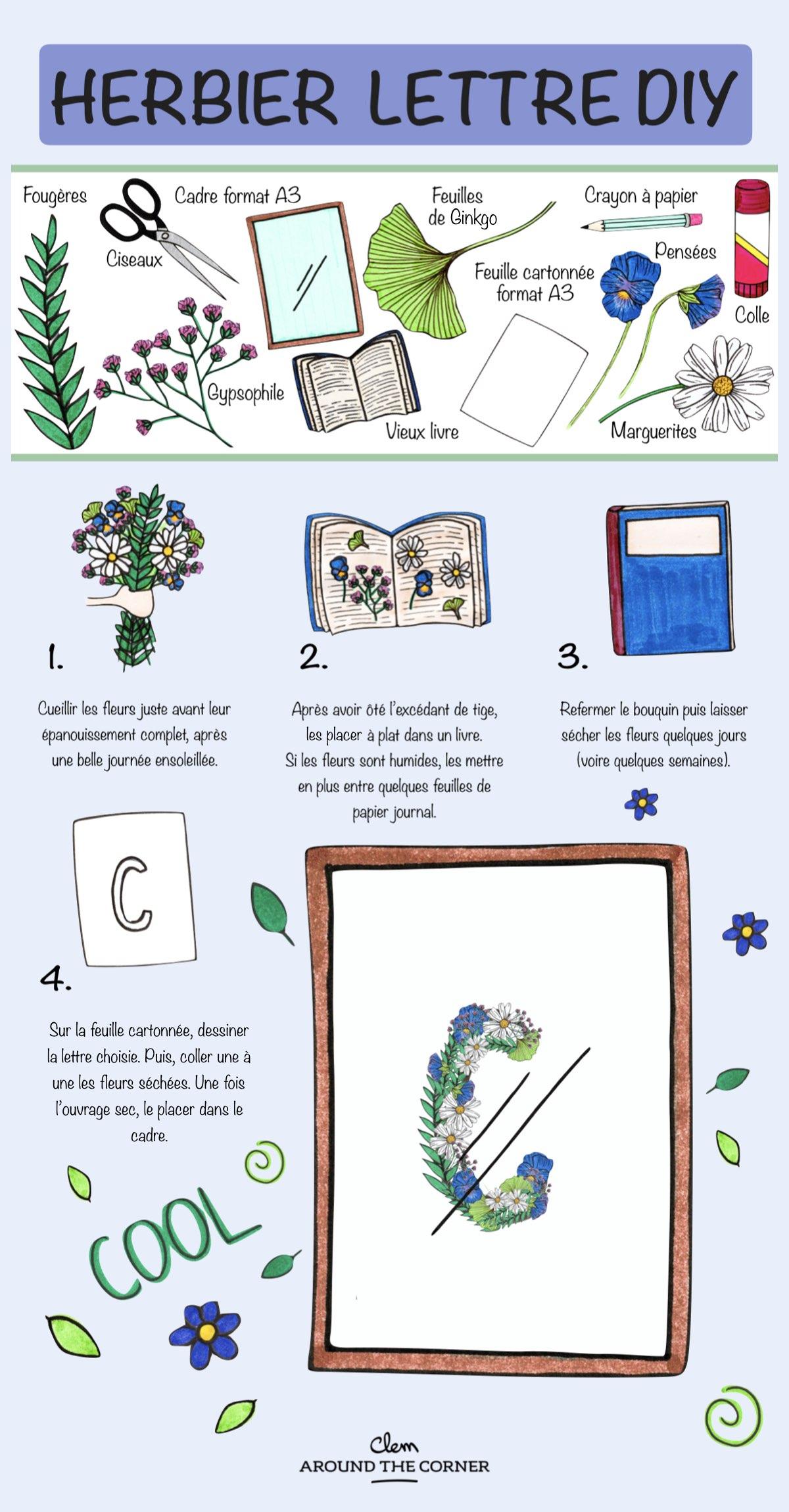 fleurs séchées diy herbier lettre - blog déco - clem around the corner