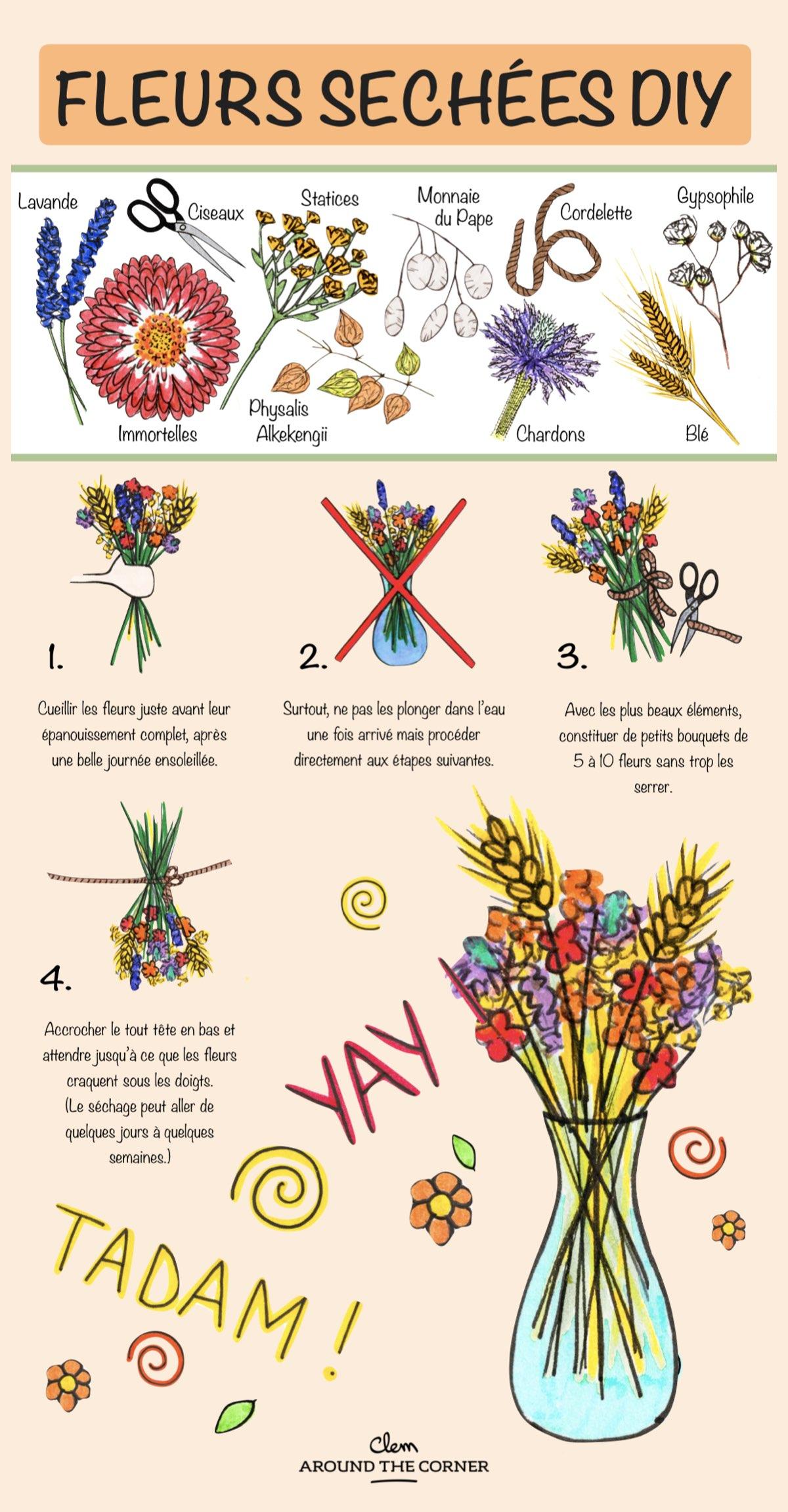 fleurs séchées diy infographie bouquet - blog déco - clem around the corner