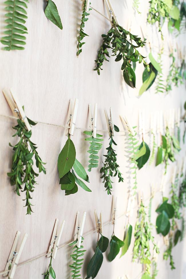 mur de feuilles décoration bohème chic champetre pas chere mariage blog clemaroundthecorner