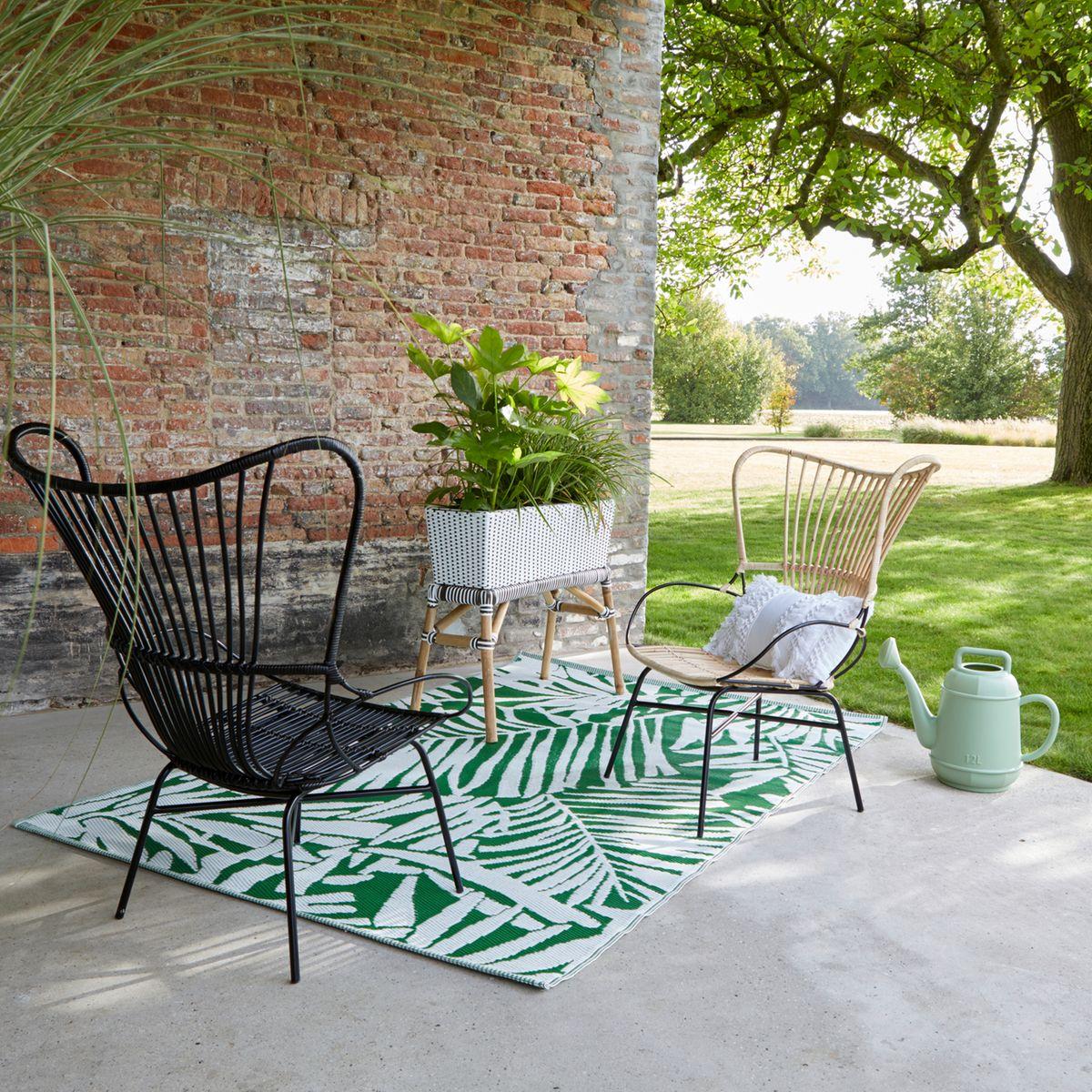 blog déco salon de jardin tapis de sol rectangle extérieur motifs tropicals vert outdoor