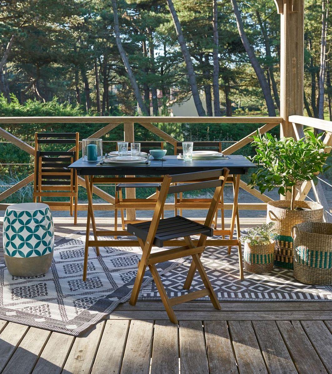 outdoor la redoute jardin terrasse bois table chaises pliantes noir