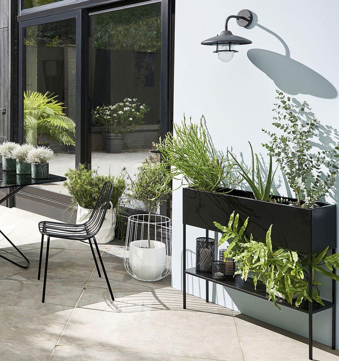 console planteur métal noir rectangle moderne plante verte déco outdoor