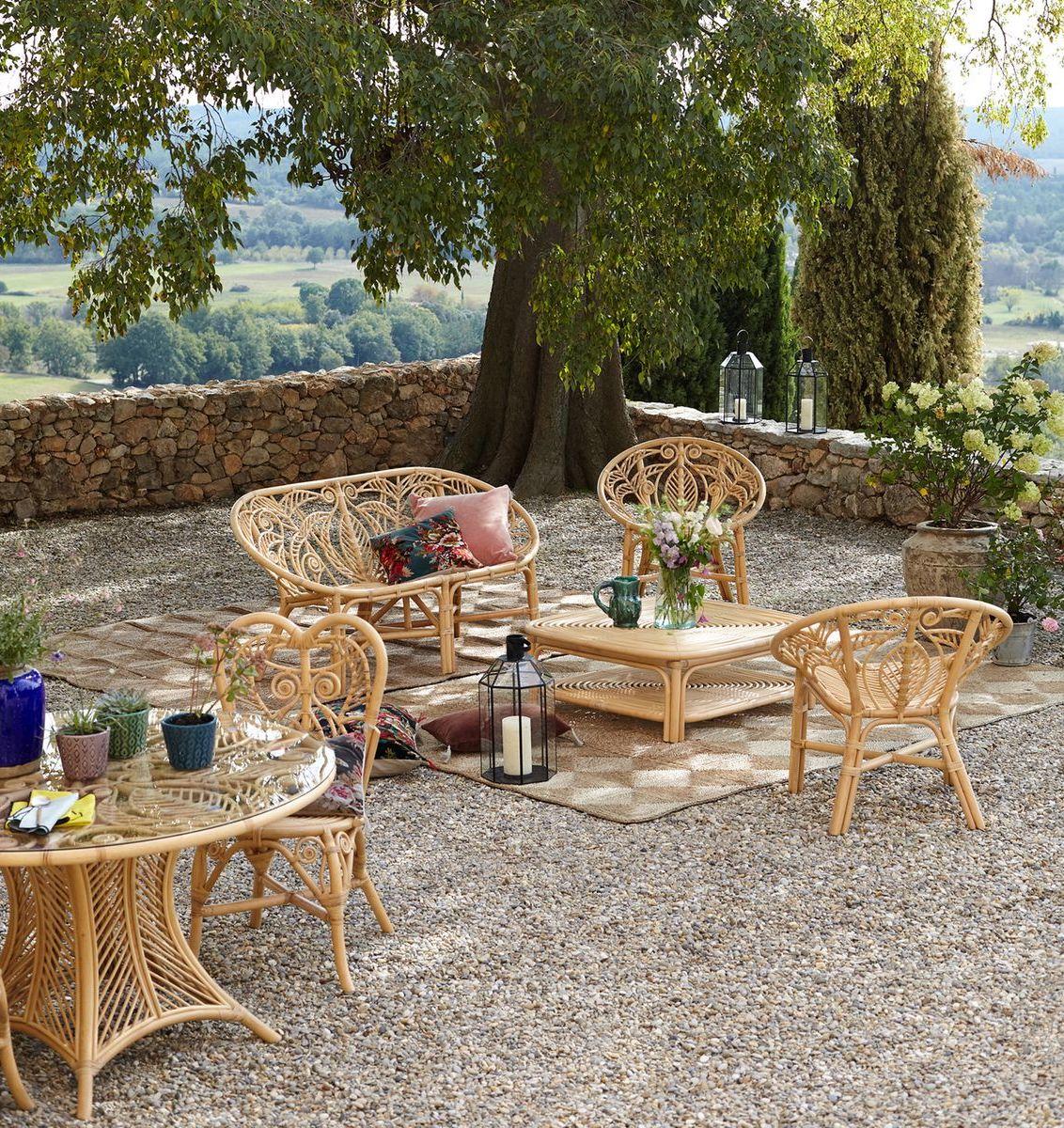 coin détente banquette fauteuil table basse rotin style bohème clem around the corner