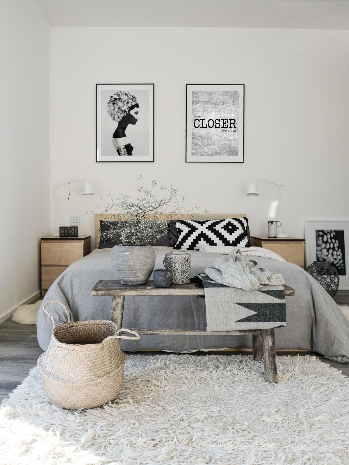 clem around the corner chambre scandicraft banc bois panier rangement osier tapis peluche blanche déco tendance