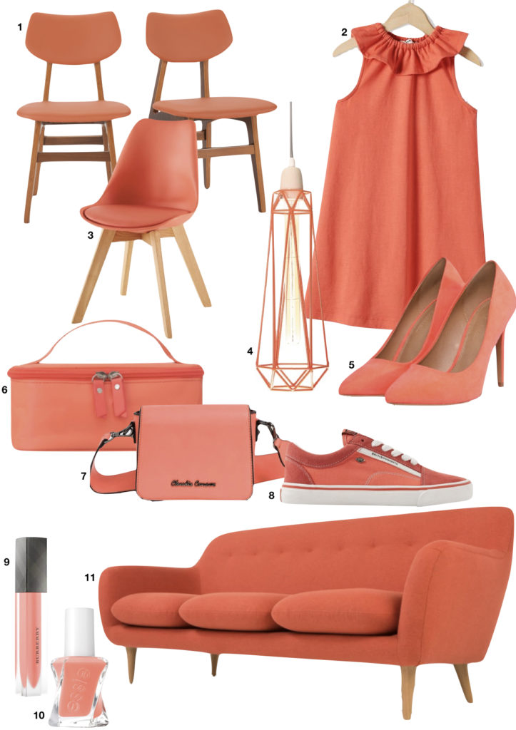 articles mode beauté déco rouge orange corail canapé chaussure robe clem around the corner