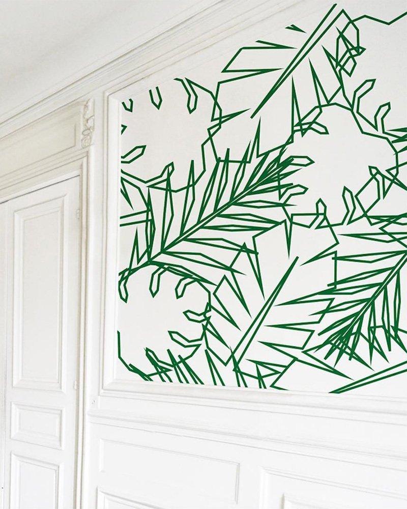 bons plans étudiant mur blanc masking tape vert feuille tropicale - blog déco - clem around the corner