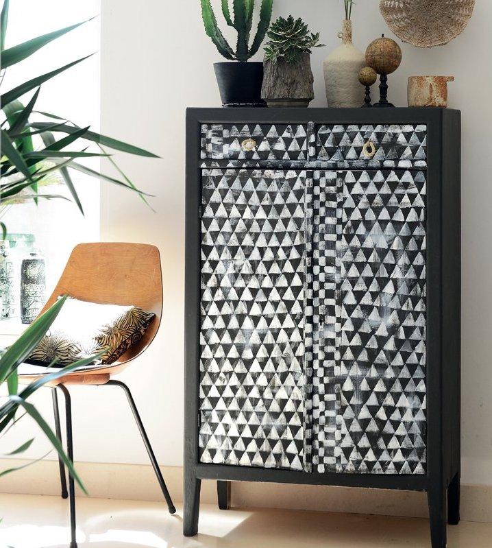 bons plans étudiant diy peindre vieux meuble noir et blanc - blog déco - clem around the corner