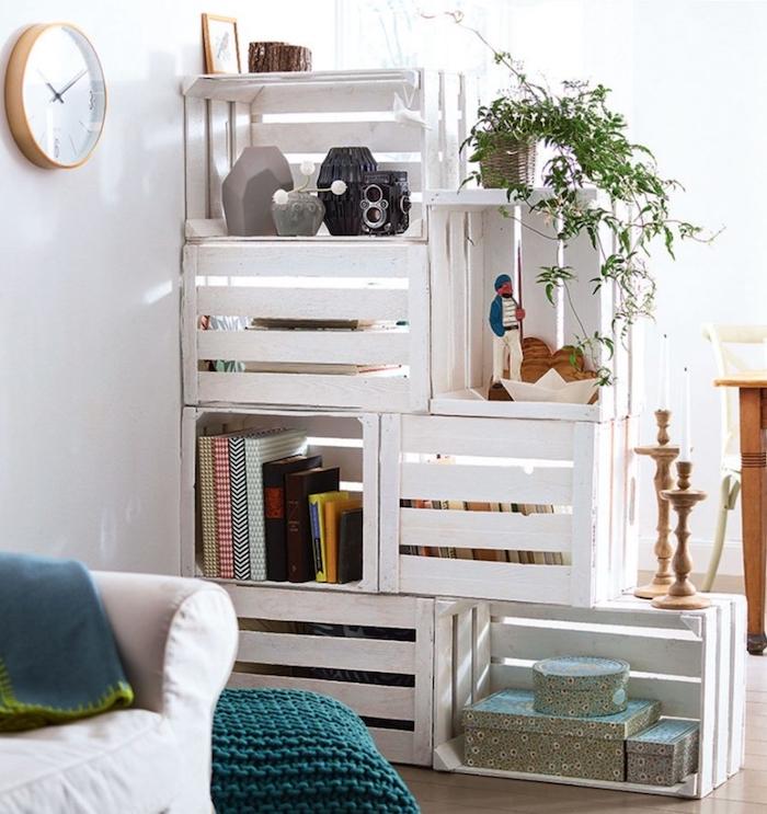 bons plans cagette bois blanc idée rangement et cloison - blog déco - clem around the corner