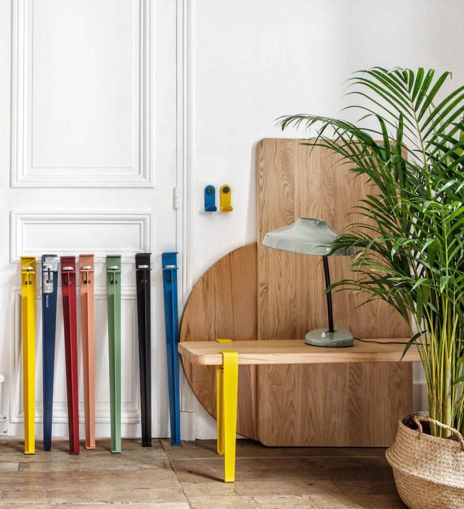astuces pied tiptoe coloré table banc appartement style parisien - blog déco - clem around the corner