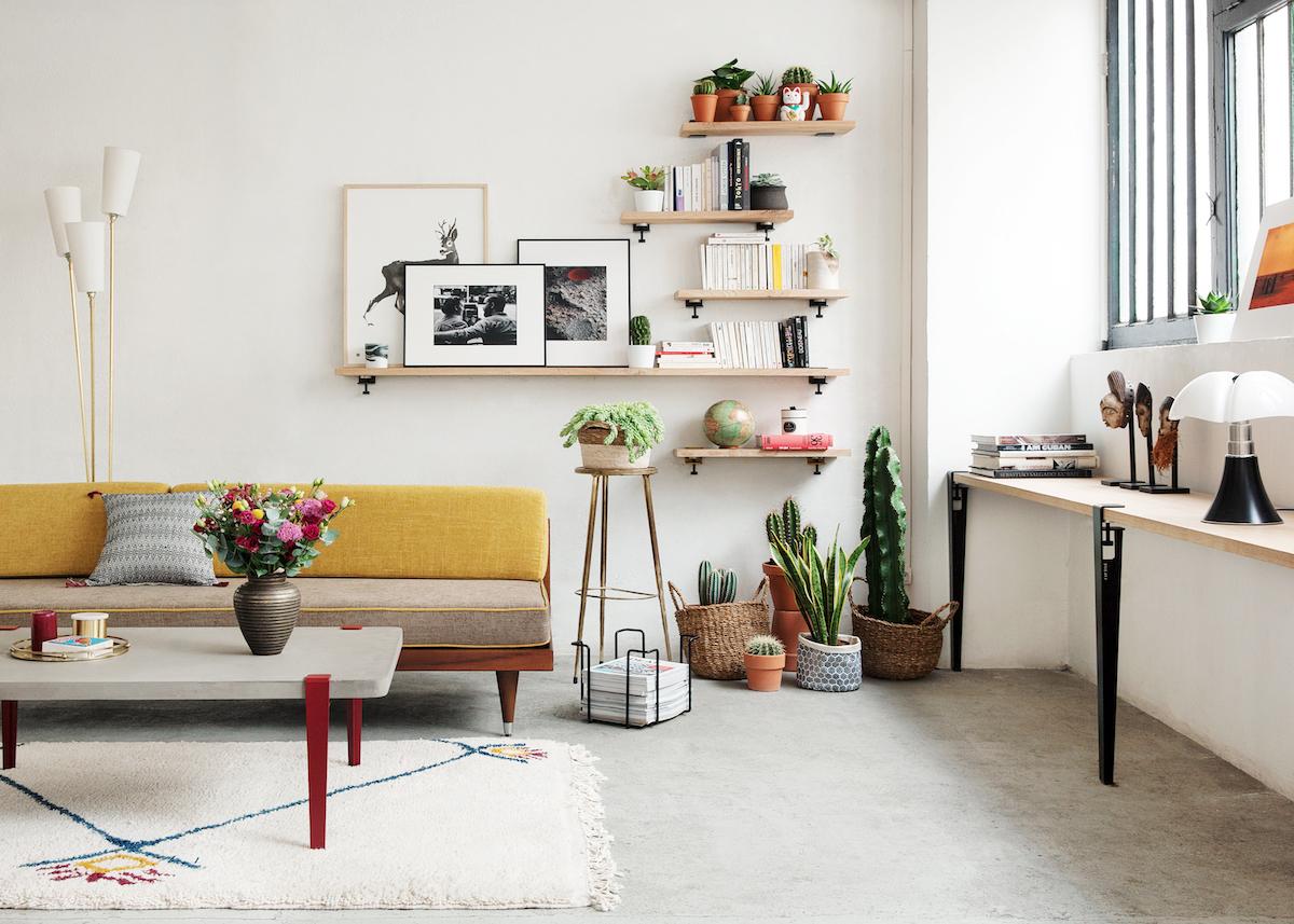 astuces étudiantes salon tendance moderne rouge jaune - blog déco - clem around the corner
