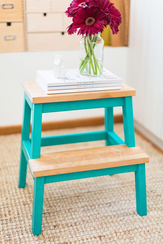 marche-pied ikea hack chambre table de nuit bois making tape bleu turquoise - blog décoration intérieur - clem around the corner