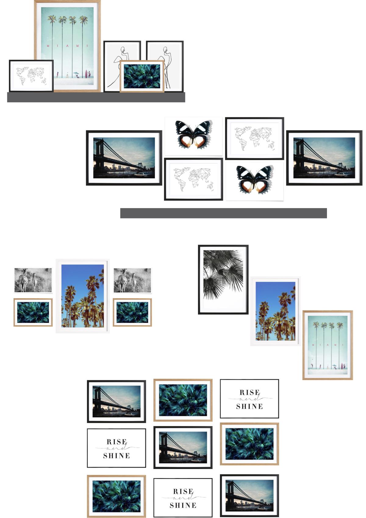 mur de cadres salon organisation ligne étagère meuble - blog déco - clem around the corner