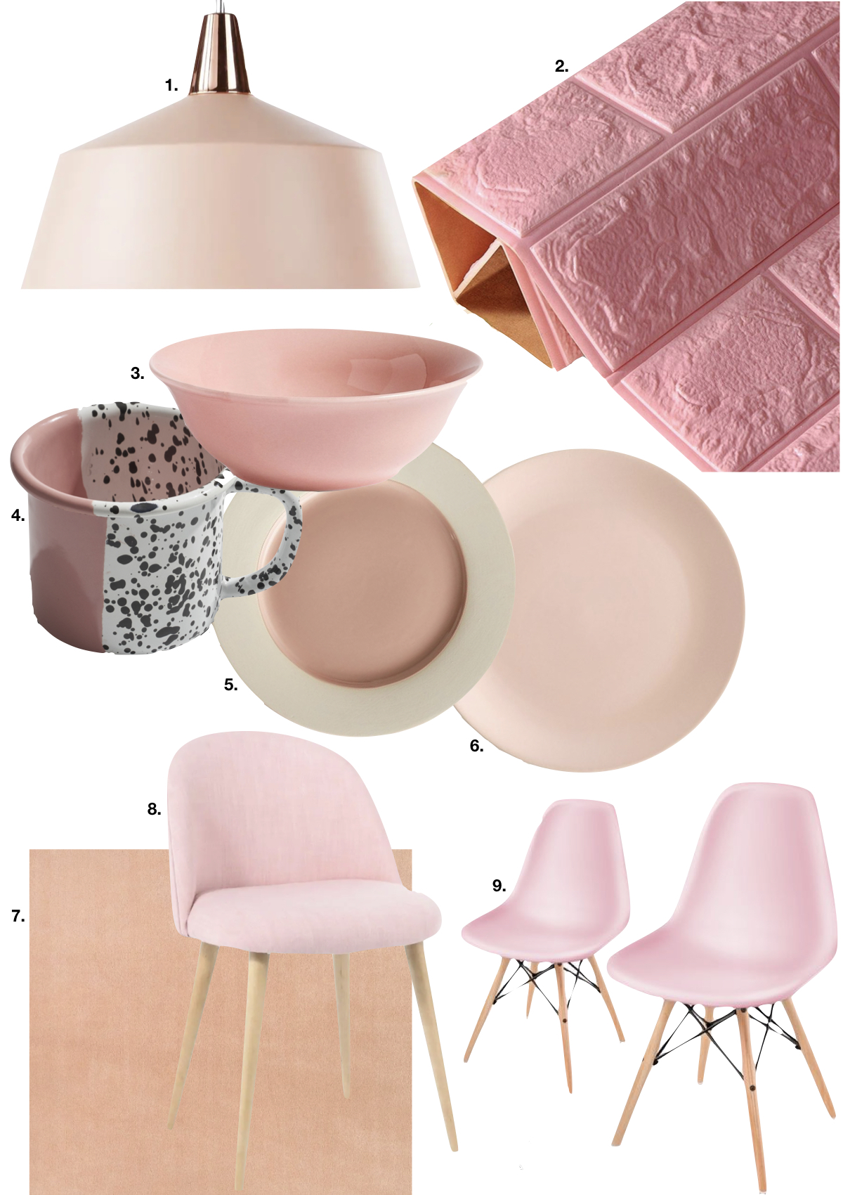 rose blush cuisine assiette chaise scandinave nappe tasse tacheté - blog déco - clem around the corner