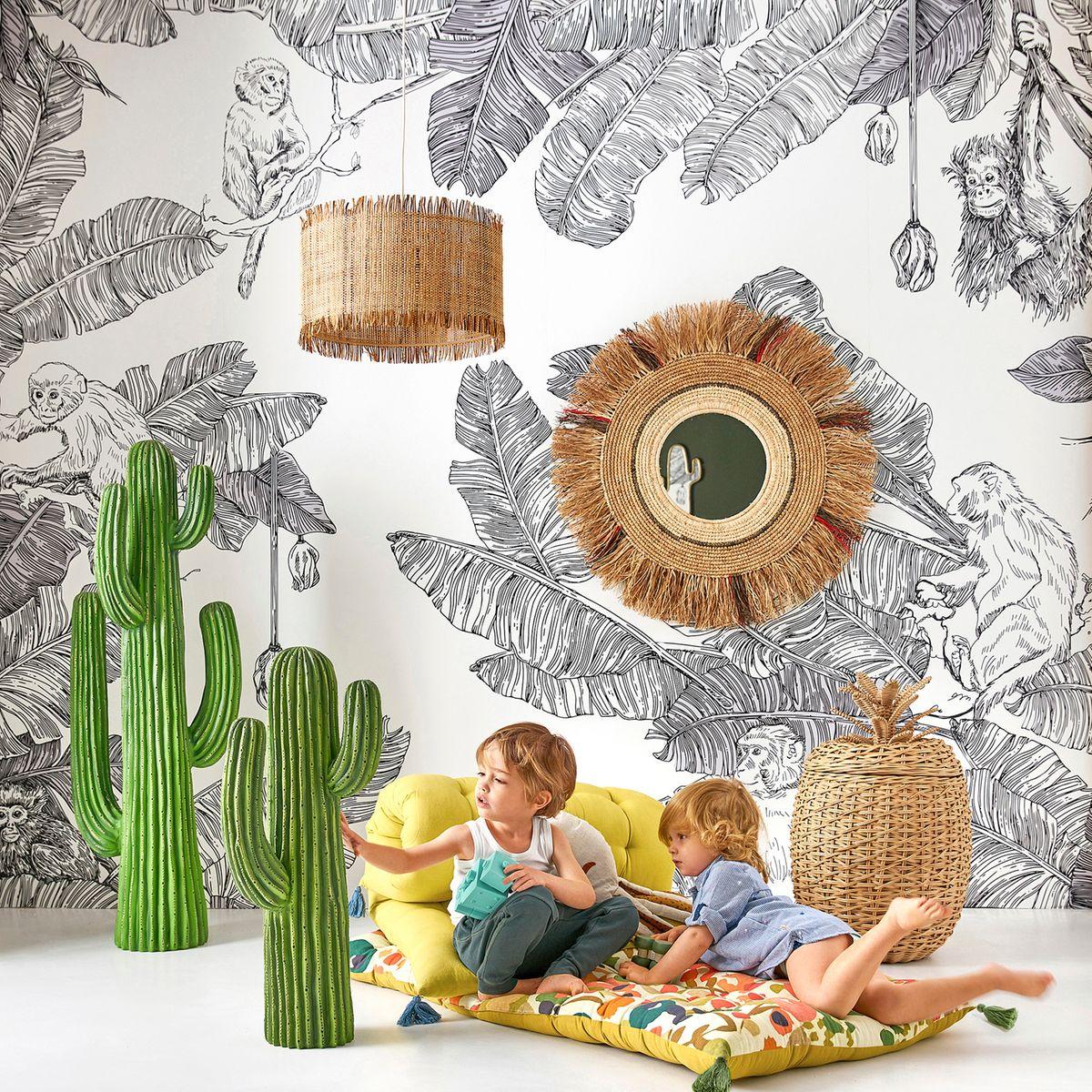 panier de rangement chambre espace enfant style nature cactus tapis de sol à pompon jaune - blog déco - clem around the corner