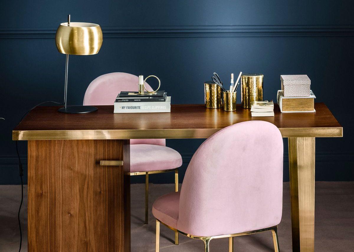 tendance néo art déco bureau vintage rose bois or mur bleu marine - blog déco - clem around the corner