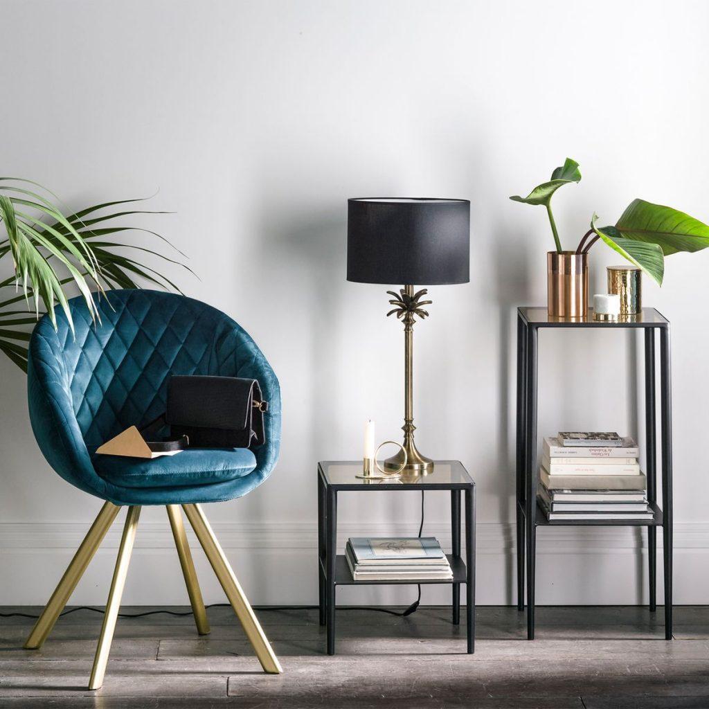tendance néo art déco entrée salon décoration bleu canard doré - blog déco - clem around the corner