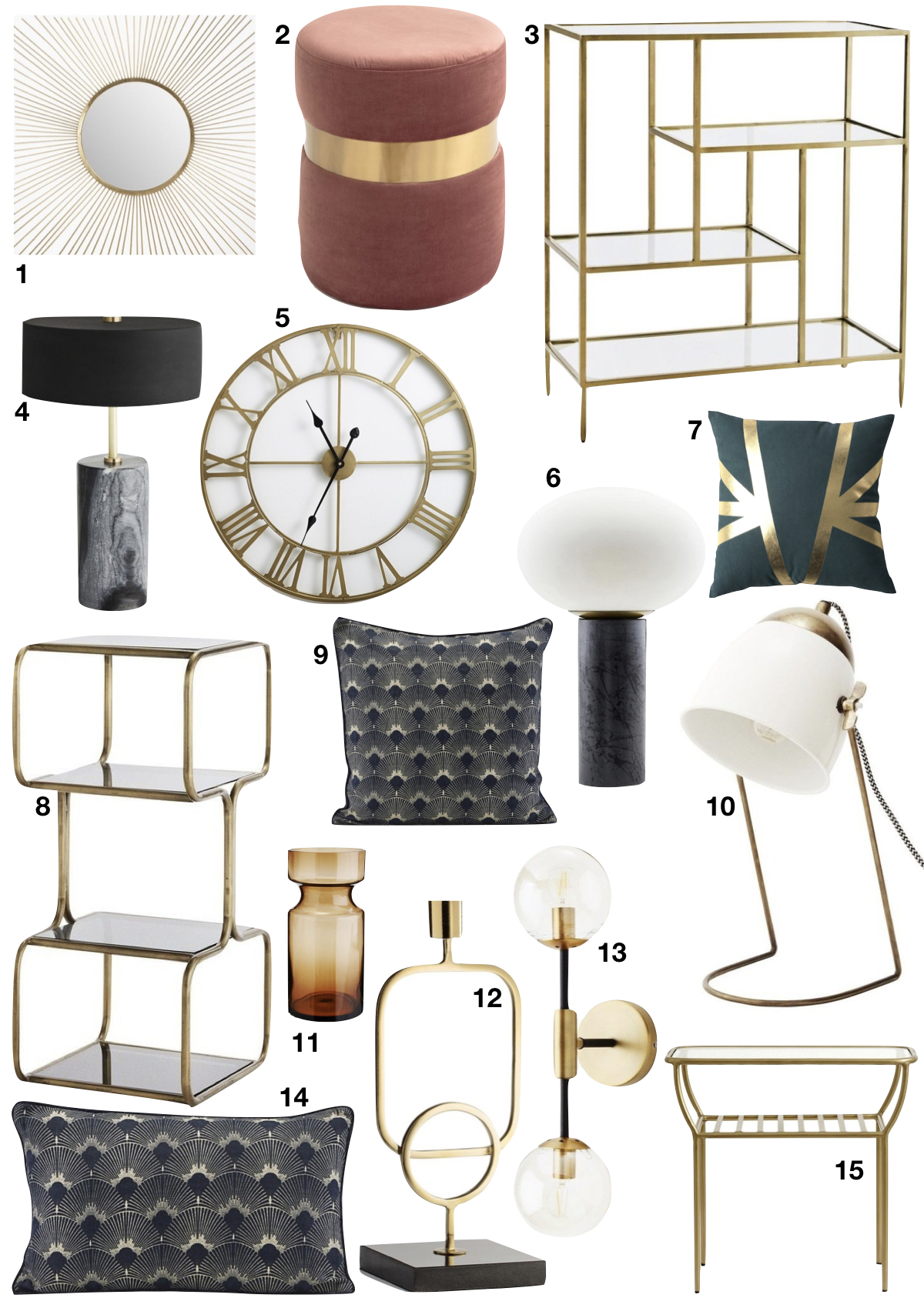 tendance néo art déco shopping liste chambre - blog déco - clem around the corner