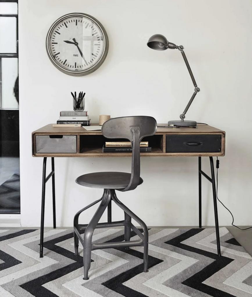 bureau faible profondeur style industriel metal et bois - blog déco - clem around the corner