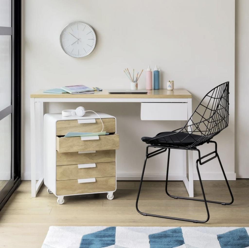 bureau faible profondeur bois et blanc décoration style hygge - blog déco - clem around the corner