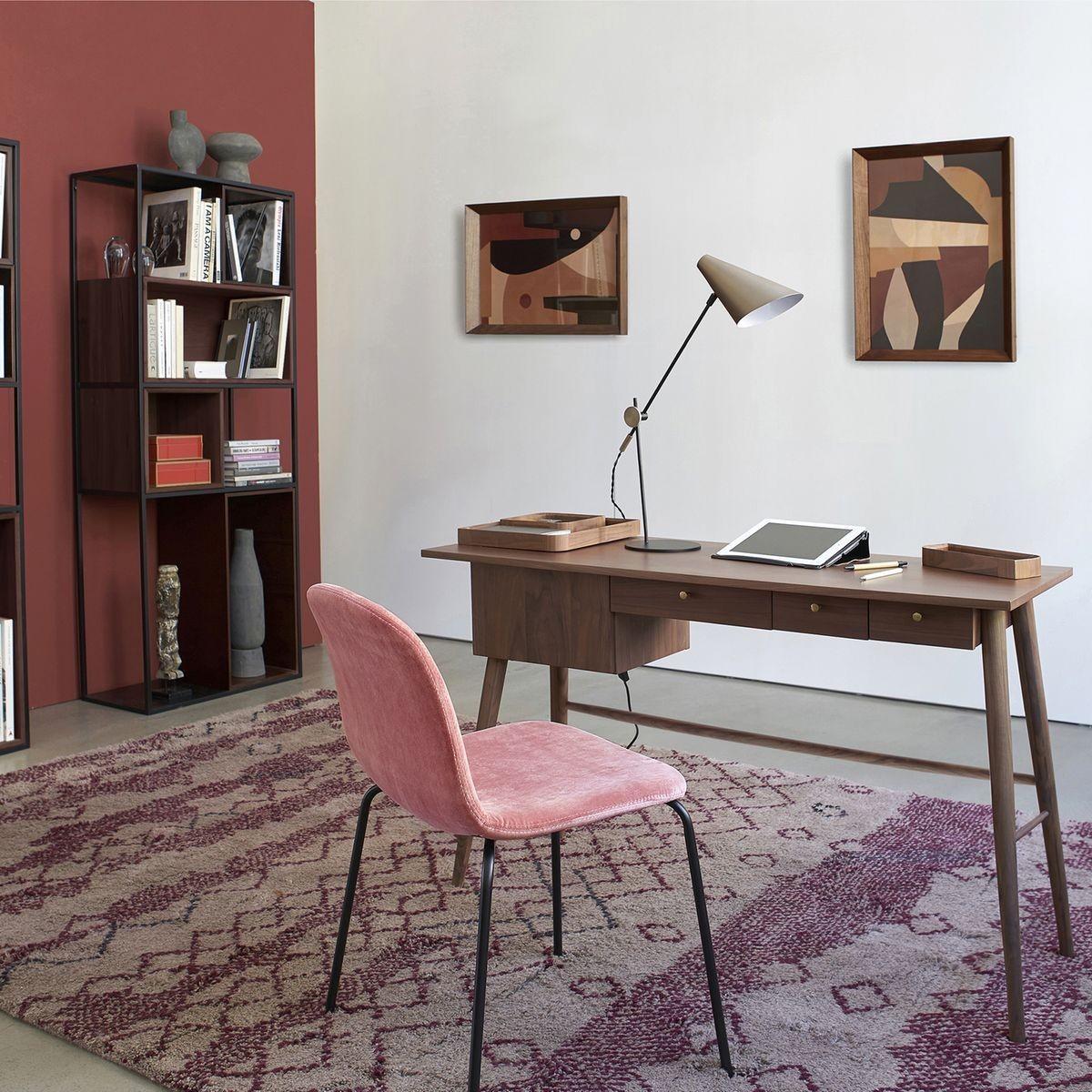 bureau faible profondeur rose vintage éclectique decoration - blog déco - clem around the corner