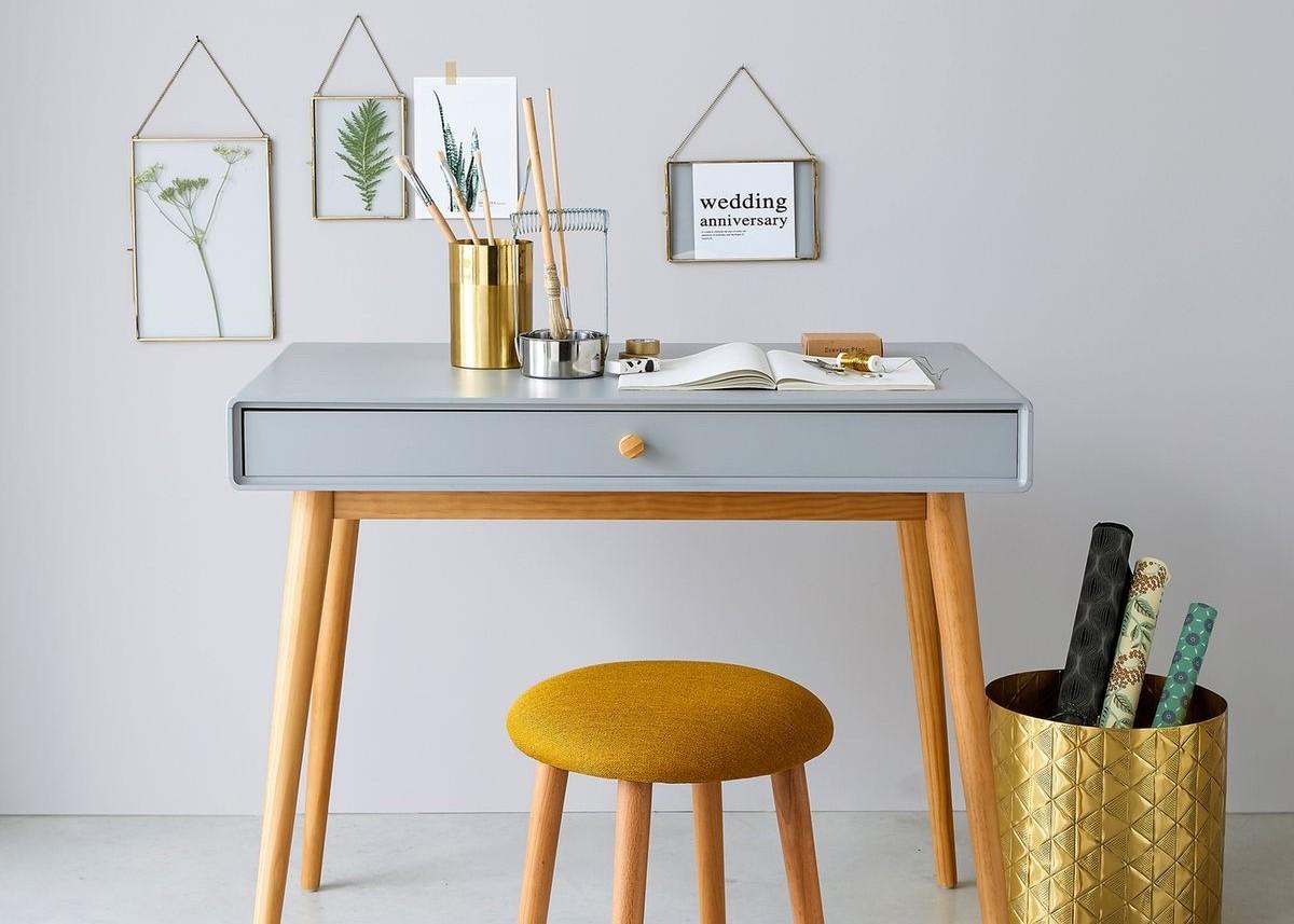bureau faible profondeur gris jaune design - blog déco - clem around the corner