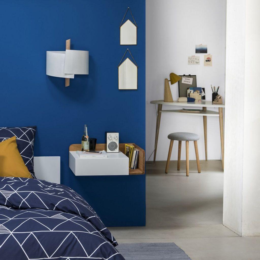 bureau faible profondeur chambre bleue adulte ado - blog déco - clem around the corner