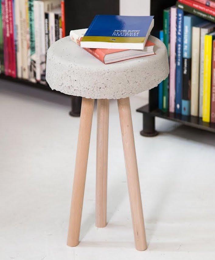 tabouret en béton diy sobre simple élégant bibliothèque livre - blog déco - clem around the corner