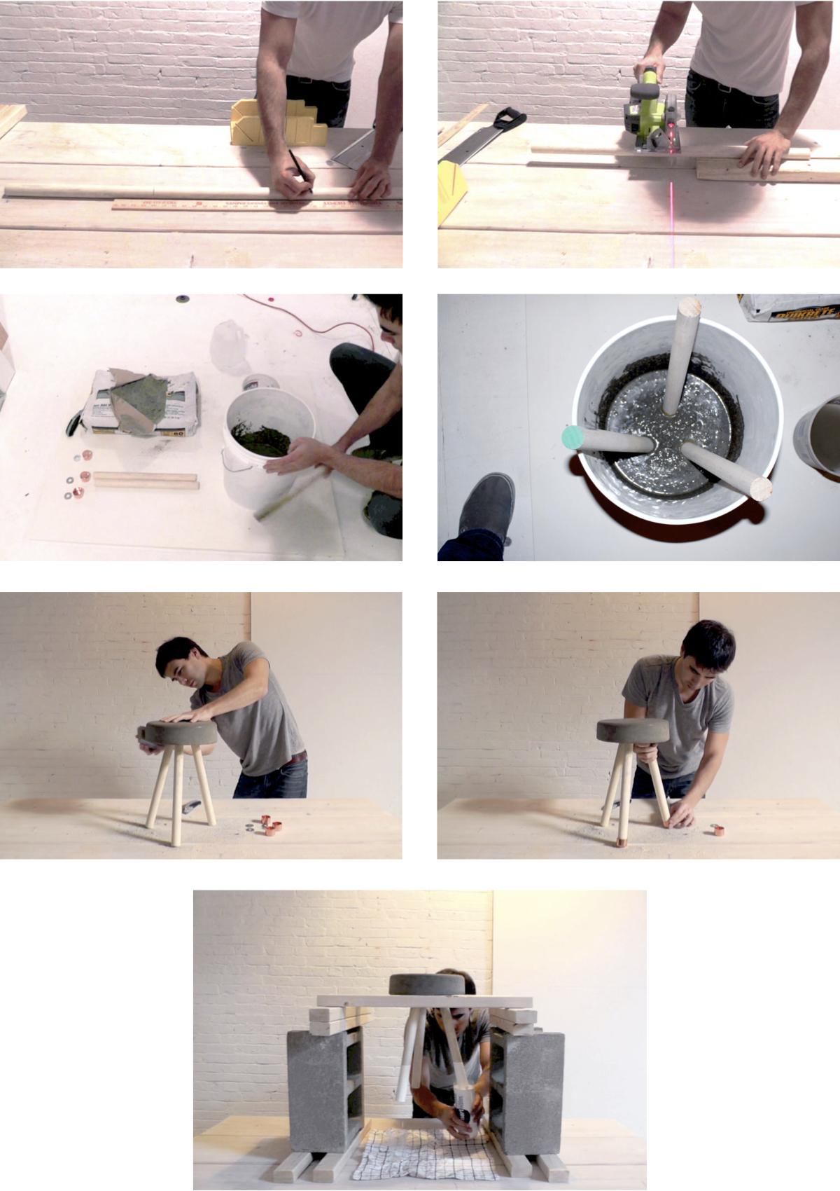tabouret en béton diy bricolage assise sobre grise pieds bois blanc - blog déco - clem around the corner
