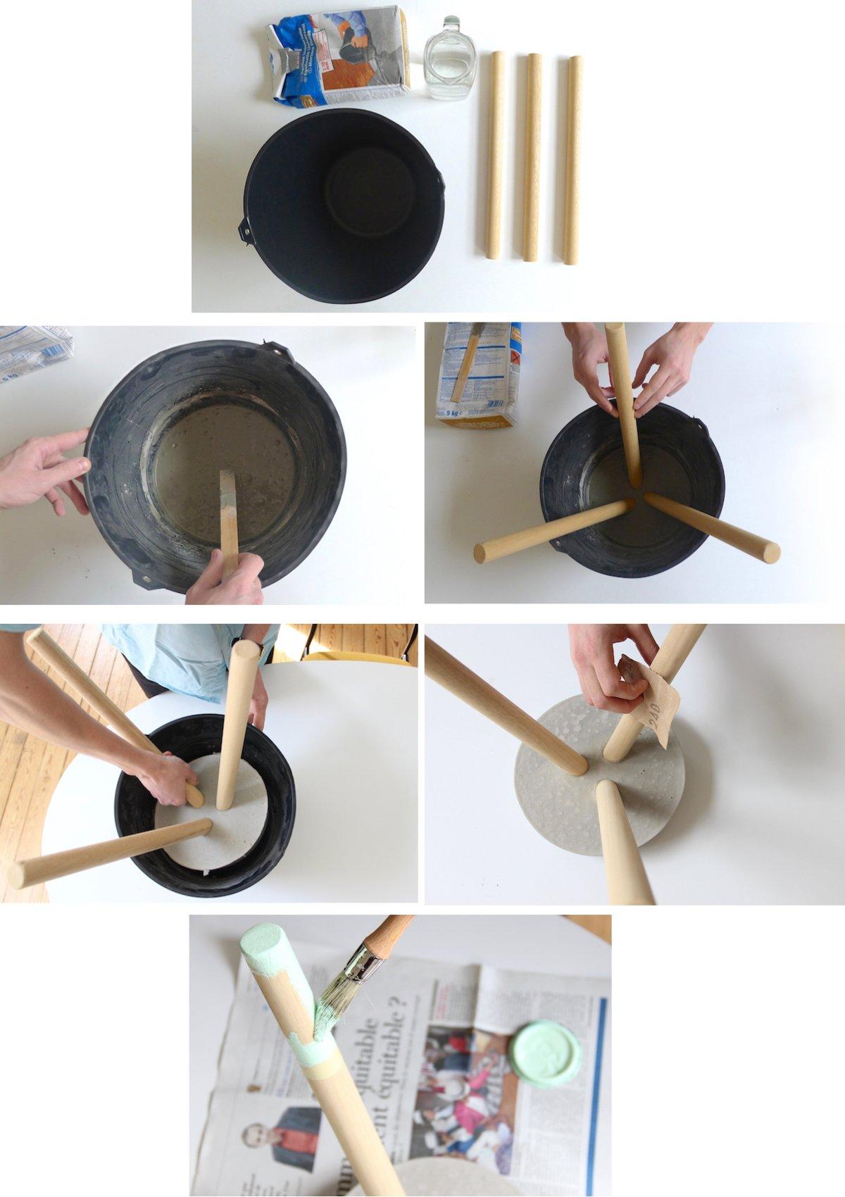 tabouret en béton diy bricolage étape facile accessible peinture bois - blog déco - clem around the corner