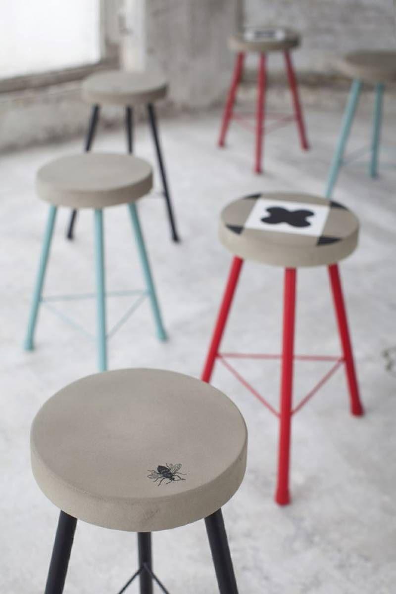 Tabouret Feeling motifs carreaux de ciment  Serax Designer : Marie Michielssen