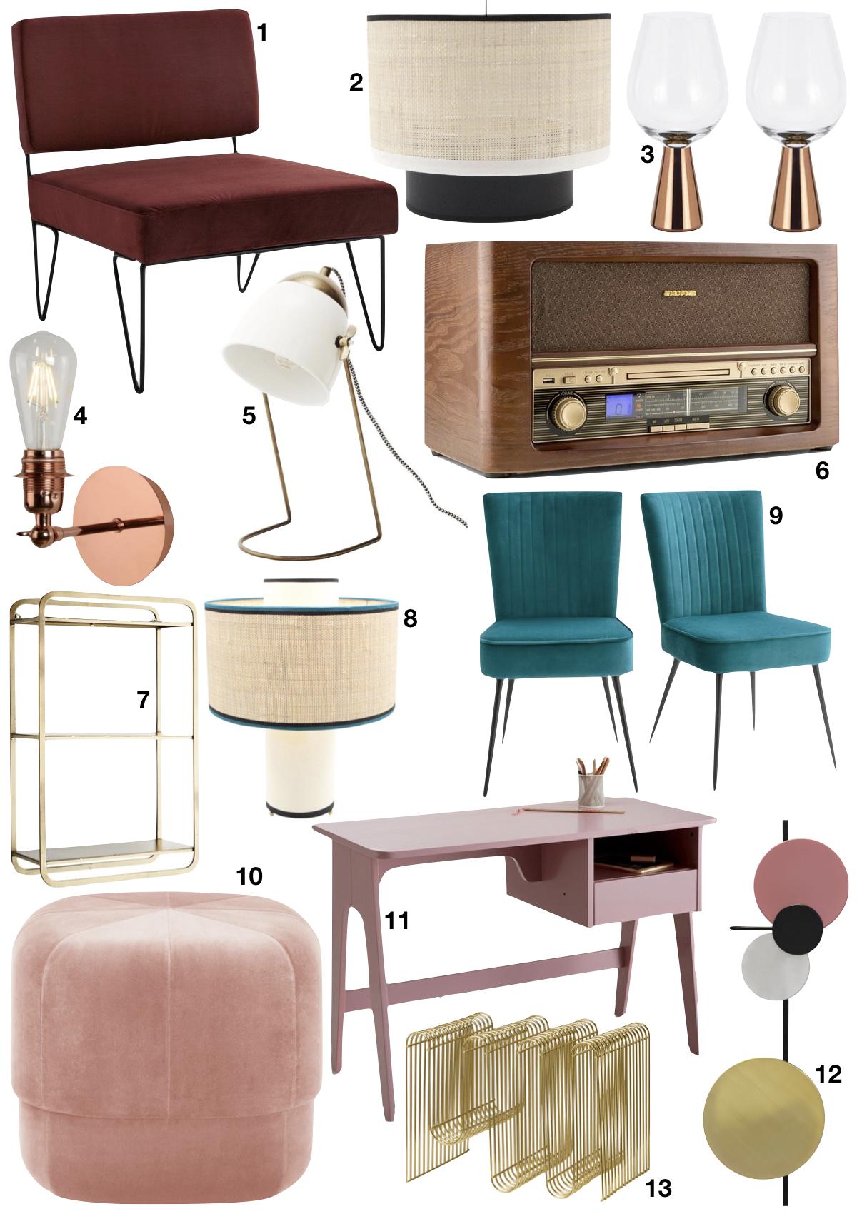 différence entre rétro et vintage en décoration shopping list inspiration années 30 - blog déco - clem around the corner