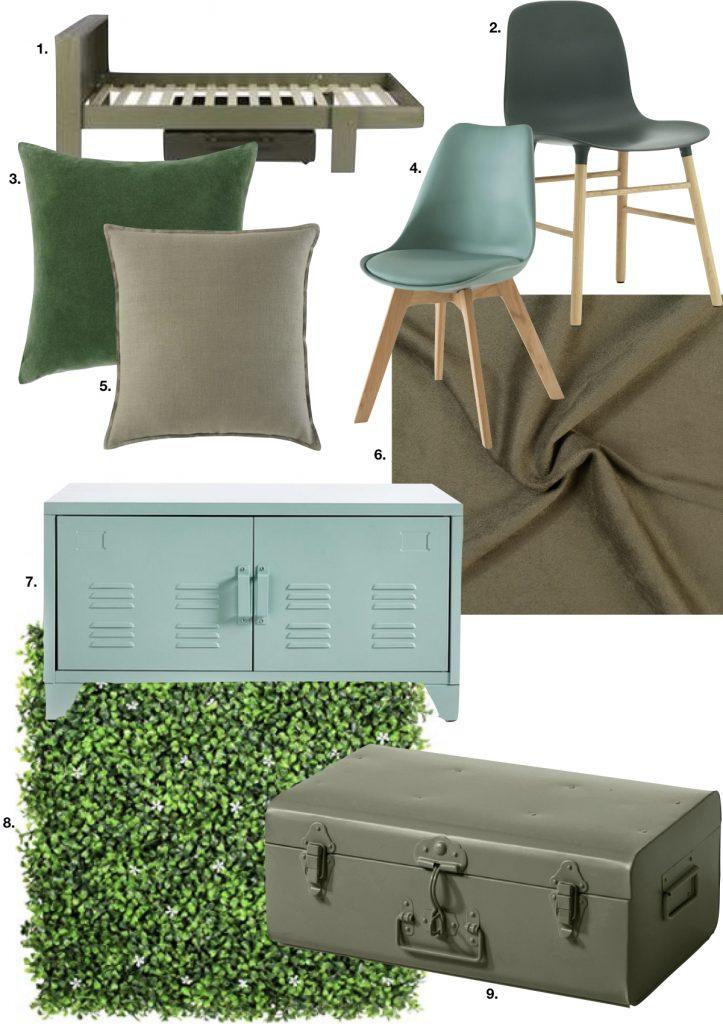 chambre enfant kaki mur végétale valise voyage rétro housse couette - blog déco - clem around the corner