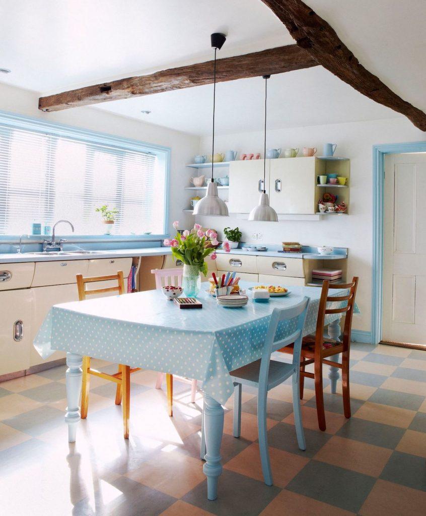 cuisine bleue vintage bleu ciel rétro - blog déco - clem around the corner