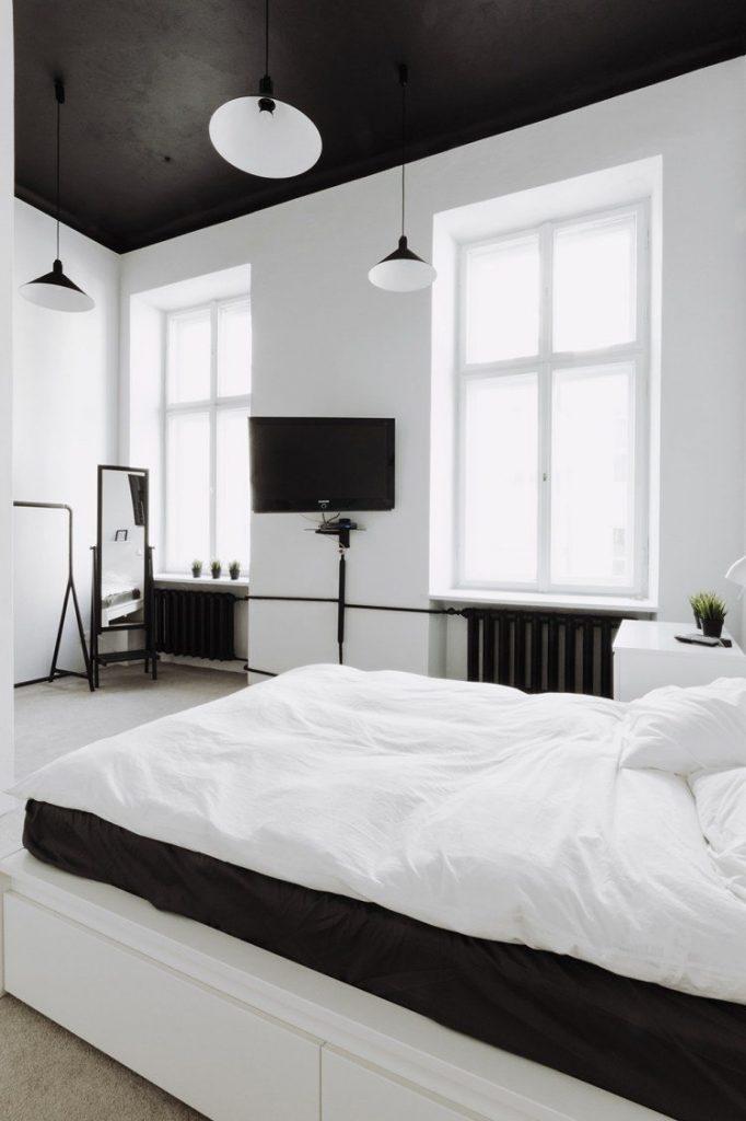 plafond noir design chambre blanche noire moderne - blog déco - clem around the corner