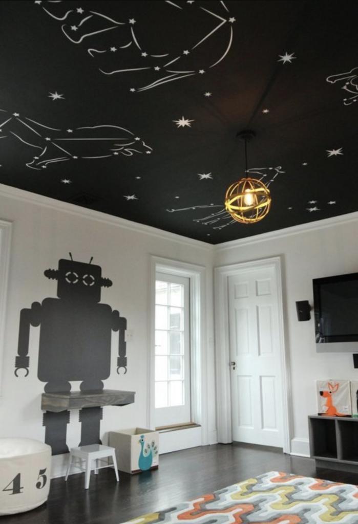 plafond noir idée décoration constellation ciel étoiles - blog déco - clem around the corner