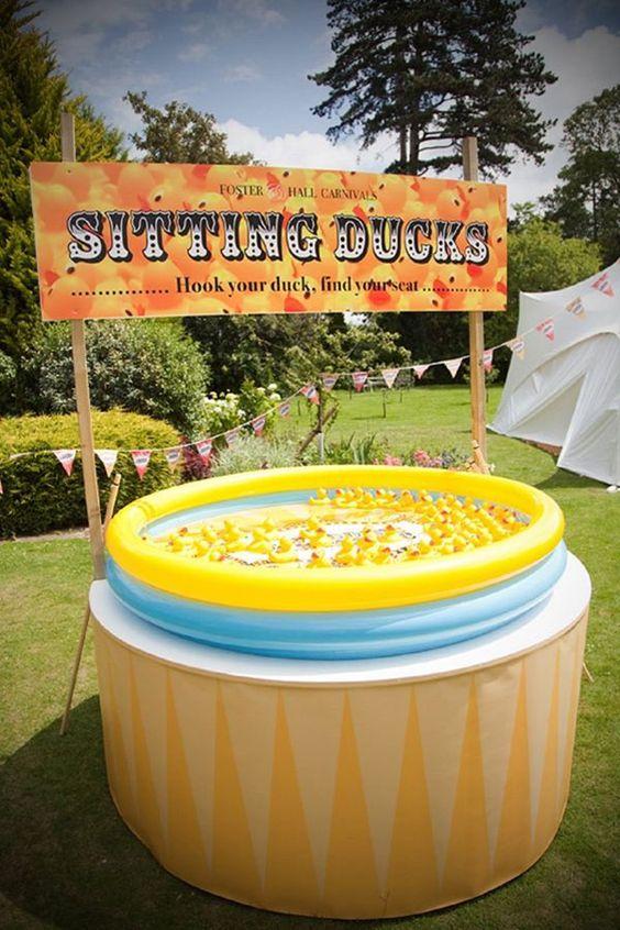 pêche à la ligne canard piscine anniversaire thème fête foraine déco décoration