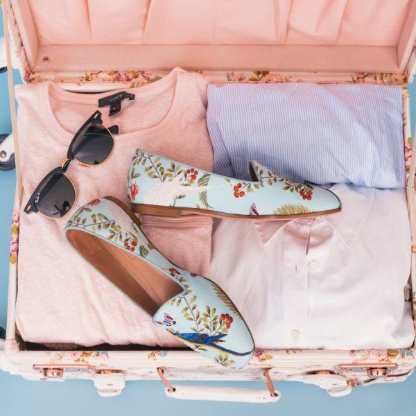 voyage expédition avion valise rose déco fleurie estivale clemaroundthecorner