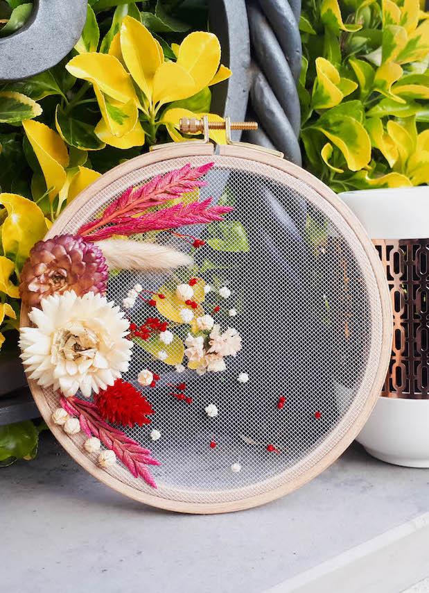 clemaroundthecorner déco champêtre fleurs séchées tambour diy facile