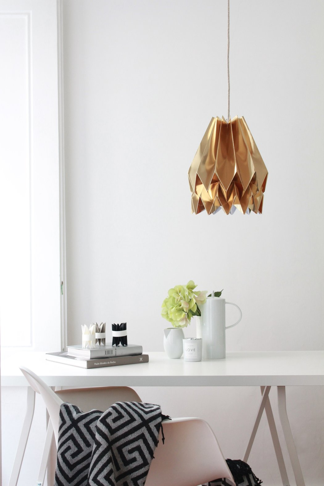 luminaire en papier bureau blanc lampe origami suspendue moderne cuivre