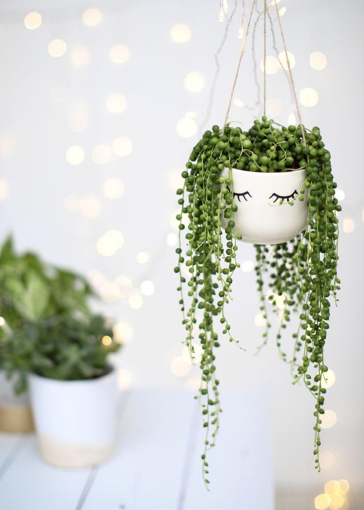 clemaroundthecorner vase porcelaine blanche suspendue plantes vertes