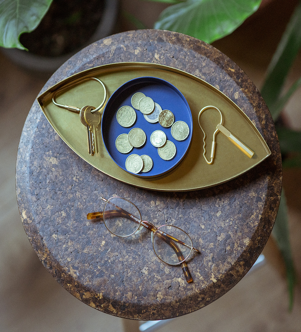 déco oeil support vide poche bleu doré tabouret effet pierre marron salon nature
