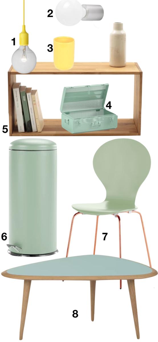 shopping liste pour appartement couleur vert menthe étagère bois chaise table basse lampe baladeuse poubelle - blog déco - clemaroundthecorner