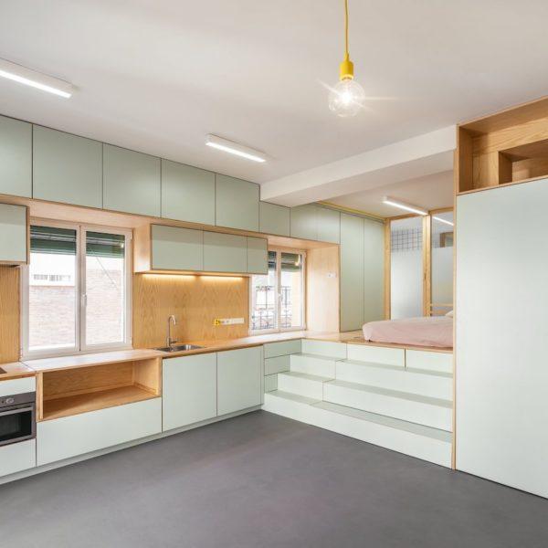 Visite d un 32m2 au coeur de Madrid studio appartement vert menthe aménagé - blog déco - clemaroundthecorner