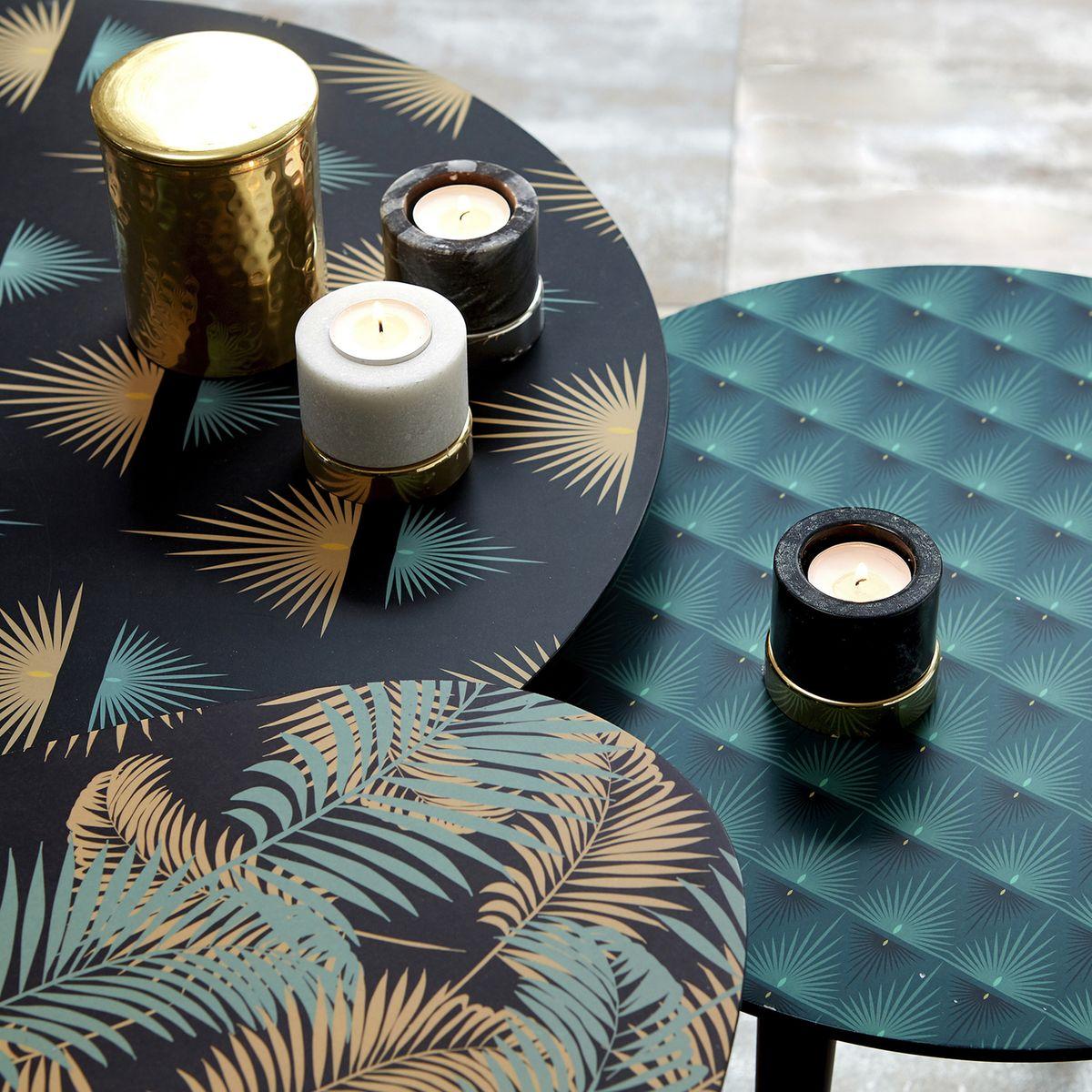 table basse ronde noir bleu dorée motifs exotiques bougie laiton blog déco