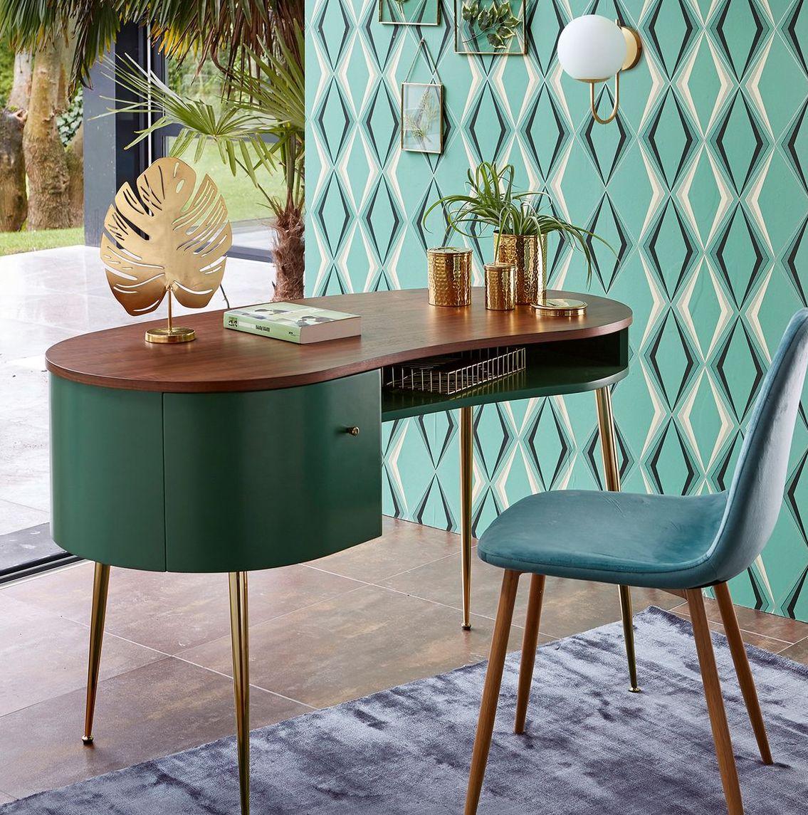 blog déco bureau exotique géométrique luxueux table ronde bois papier peint géométrique